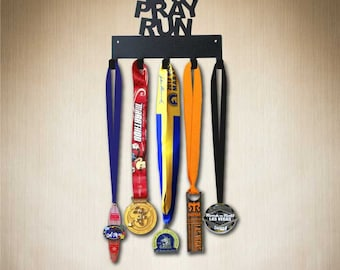 Medal Hanger - Eat Pray Run Running Medal Holder, Medal Display,  holds 5-15+ medals. Larger 10 hook size available:www.sporthooks.com