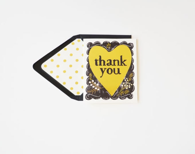 Thank You Card Heart {Greeting/Note Card w/Blush Floral Accents}