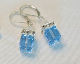 Blue Earrings Bridesmaid Earrings Gift Color Choice Crystal Earrings Swarovski Crystal Modern Wedding Jewelry, Dangle