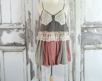 Bohemian, Summer Tunic Top, Vintage Lace, Upcycled Clothing, Eco Fashion, Womens Sleeveless Top