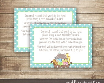 Bring a Book Insert Card / Noah's Ark Baby Shower / Baby Boy Shower, Sprinkle /Bring a Book instead of a Card - INSTANT DOWNLOAD - Printable