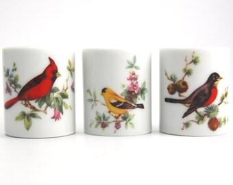 Funny Design West Germany Candle Holder Set  of 3 Vintage Red Cardinal Vintage