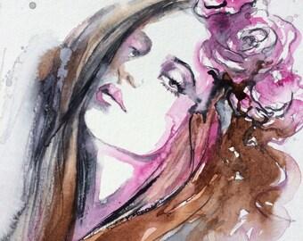 SALE Watercolor Original Painting - Watercolor Fashion illustration - Portrait