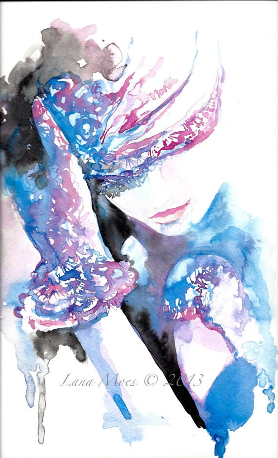 Chanel inspired print from original fashion watercolor by lanasart