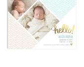 Birth Announcement Card Template - Boy or Girl Birth Announcement - 5x7 Flat Card - Mason - 1316