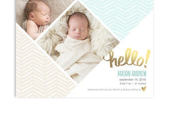 Birth Announcement Card Template - Boy or Girl Birth Announcement - 5x7 Flat Card - Mason - 1316