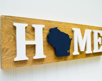 "Milwaukee Brewers ""State Heart"" Home Sign - Handcrafted wood with official team colors"