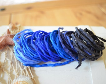 Hand dyed Silk Cords  - Set of 6 - blue silk strings
