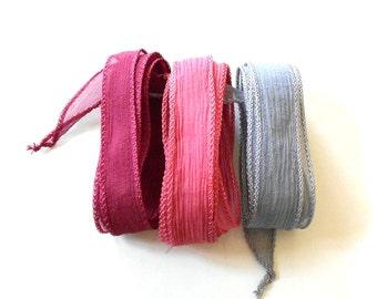 Hand dyed Silk Ribbon for bracelet necklace - Set of 3 - rose grey pink