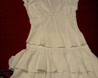 Mexican Dress Girl M/L Size 8/10/12 White Gauzy Cotton Two Piece