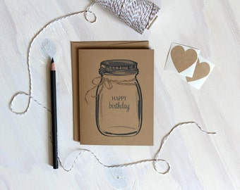 Rustic Kraft Mason Jar Happy Birthday Card / Happy Birthday / Ball Jar Card / Rustic Birthday Card / Birthday Card / Stationery / Stationary