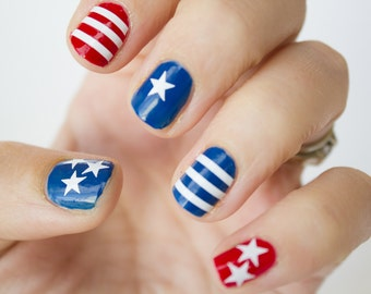 Stars and Stripes Nail Decals -Pack of 50.  American Flag