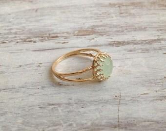 green jade ring, gemstone ring, jade stone ring, stackable ring, green jade jewelry, light green ring, jade ring - 4441