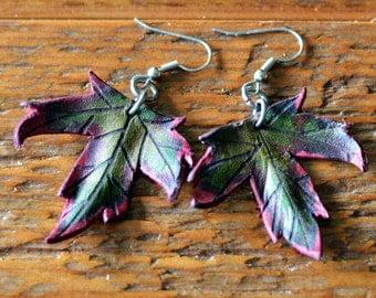Leather Maple Leaf Earrings