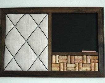Chalkboard, Wine Corkboard Bulletin Board & French Memo Board  Wall Organizer