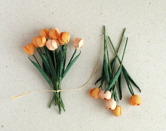 10 Mini Orange Tulips - Made of mulberry paper with wire stems - Great for card making, wedding favour & boutonnieres