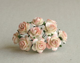 20mm Peach Pink Paper Roses - 10 mulberry paper flowers with wire stems [4529]
