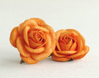 50mm Large Orange Paper Roses (2psc) - mulberry paper flowers with wire stems - Great for wedding decoration and bouquet [133]