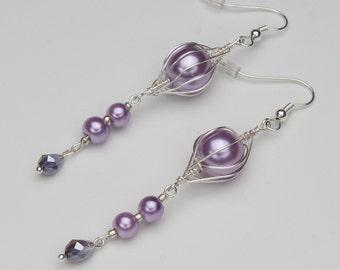Lilac Earrings, Purple earrings, Lilac Purple Wire Wrapped Pearl Dangle Earrings