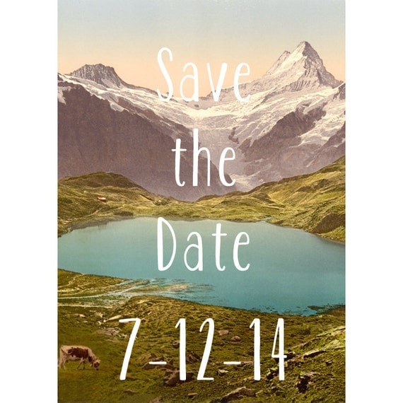 Mountain Lake Rustic Save The Date Background DIY By