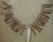 Amber Coral Turret Shell Necklace