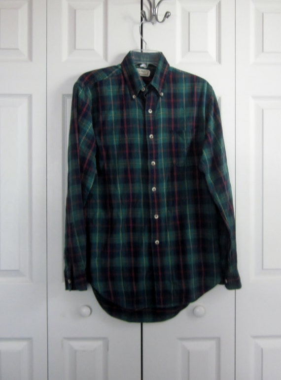 Vintage Hipster Ll Bean Plaid Flannel Shirt Made In Usa Green