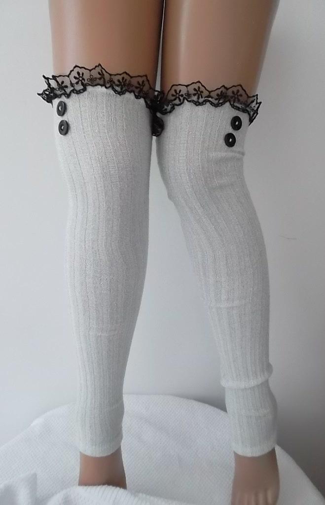 Silver White Leg Warmers Fashion Accessories Socks Lace