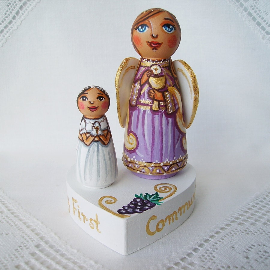 Personalized First Communion Cake Topper Angel By UnderAngelWings