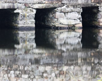 Stone bridge, reflection, black, white, grey, river, wall decor