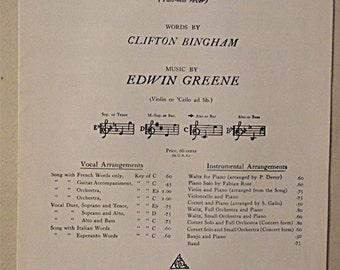 1910 Antique Sheet Music: SING ME To SLEEP (Fais-moi rever)