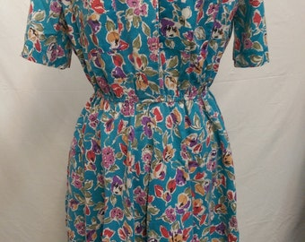 1980's Floral Patterned Dress by The American Shirt Dress Size 11/12