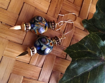 Starry Night inspired dangle earrings