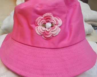 Girls Toddler French Rose Pink Bucket Hat Sunhat - Handmade Irish Rose -  One Size 23in (approx 4-8+ years)