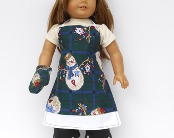 18 Inch Doll Clothes, Apron, Chef's Hat, Oven Mitt, Chrismas Chef's Set, Snowman Chef's Set, Snowman Apron