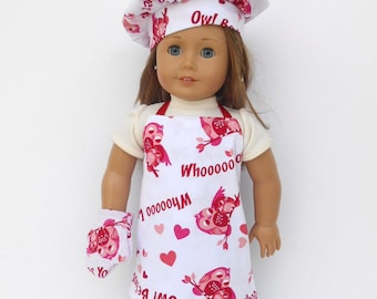 Valentine's Day Doll Apron, 18 Inch Doll Clothes, Owl Print Apron, Chef's Hat, Oven Mitt, Owl Print Chef's Set