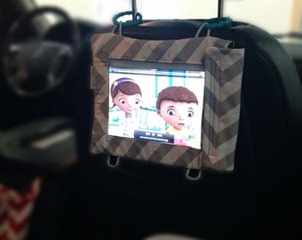 Sale ~ Rilos and MiMi Grey Chevron iPad Headrest Case-Great for Car and Stroller- Ready to Ship
