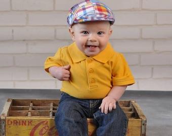 Patchwork hat, plaid newsboy hat, baby boy newsboy cap, patchwrok flat cap, kids newsboy hat - made to order