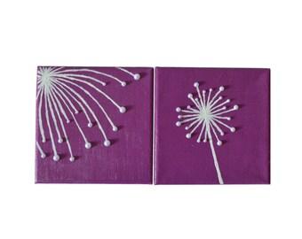 Purple Dandelion Canvas Set