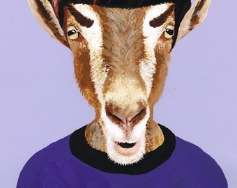 Animal painting portrait painting Giclee Print Acrylic Painting Illustration Print Startrek art wall decor Wall Hanging: Mister Spock Goat