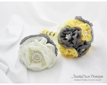 READY TO SHIP Set of 2 Wedding Bridal Lace Brooch Bouquet + Toss Bridesmaid Jeweled Bouquet in Maize Yellow, Grey, Silver, Ivory Pewter