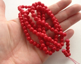 6mm Red Painted Round Glass Bead Strand 32 Inches