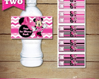ANY SET of TWO Pink Polka Dot or Zebra Minnie Mouse Water Bottle Labels, Pink Printable Minnie Mouse Bottle Wrappers, DiY Bottle Labels