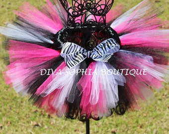 Zebra Minnie Mouse Tutu - Birthday Tutu