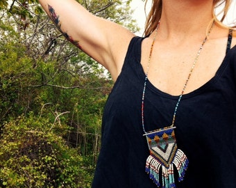 The Lucy- Long Woven Seed Bead Fringe Necklace