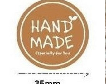 45 Round Handmade. Especially for You. Light Brown Paper Sticker Labels. 3.5cm diameter. Retro. Gift Wrapping. Label Seals. Wedding Favors
