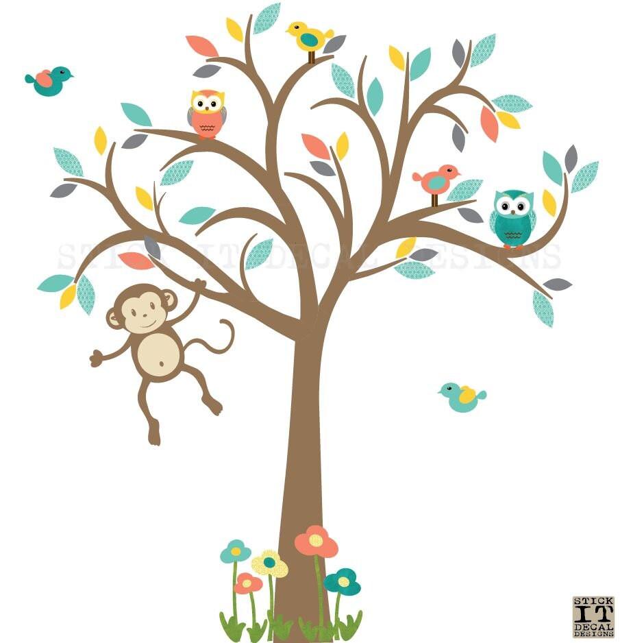 Monkey Wall Decals Gender Neutral Nursery Wall Decal Kids - Nursery wall decals gender neutral