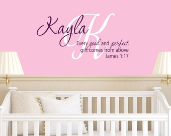 Scripture Name Decal - Vinyl Decal - Kids Decals - Name Decal - Children Monograms - Nursery Decal - James 1:17 - Christian Decals