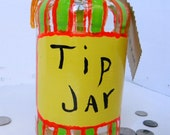 Bright Colors Tip Jar Recycled Jar Upcyled Money Jar Yellow Orange Green - FeathandKee