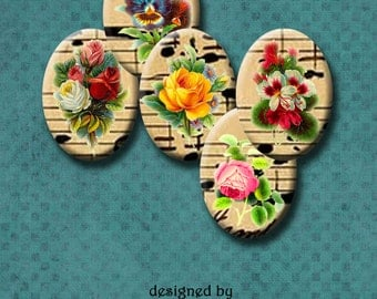 VINTAGE FLOWERS III - 22mm x 30mm oval images for pendants, glass bezels, decoupage, earrings etc. Instant Download #182.