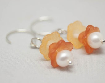 Freshwater Pearl Yellow And Rust Flower Dangle Earrings - Silver French Earwire